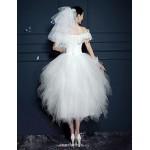 A-line Short/Mini Wedding Dress - Off-the-shoulder Tulle Wedding Dresses