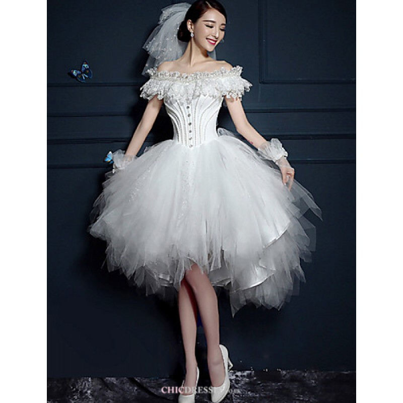 A line short mini wedding dress off the shoulder tulle for Short mini wedding dresses