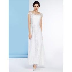 Sheath Column Wedding Dress Ivory Ankle Length Scoop Tulle