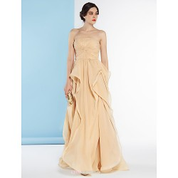 A Line Wedding Dress Champagne Floor Length Strapless Chiffon