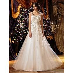 A Line Princess Wedding Dress Ivory Floor Length Scoop Tulle