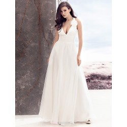 A Line Wedding Dress Ivory Floor Length V Neck Chiffon Tulle