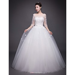 A Line Wedding Dress Ivory Floor Length Jewel Organza