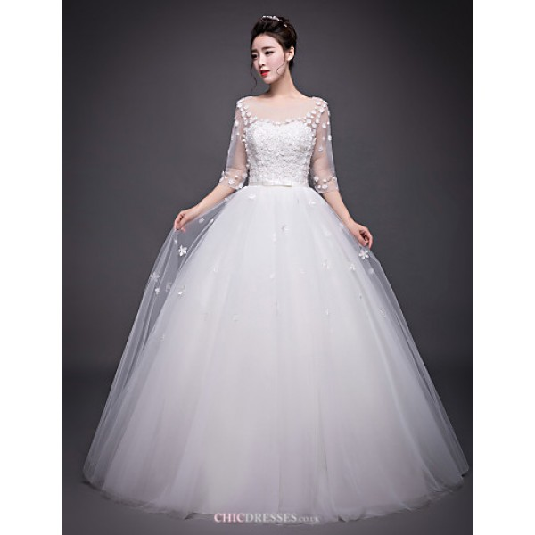 A-line Wedding Dress - Ivory Floor-length Jewel Organza Wedding Dresses