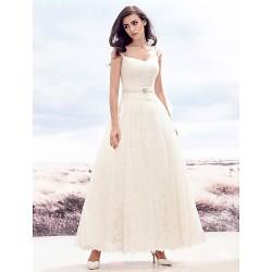 A-line Wedding Dress - Ivory Ankle-length Sweetheart Lace