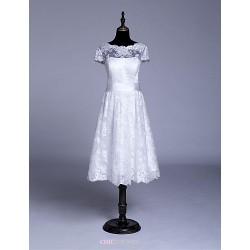 A-line Wedding Dress - White / Ivory Knee-length Jewel Lace