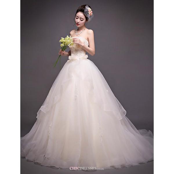 A-line Wedding Dress - Champagne Court Train Strapless Organza Wedding Dresses