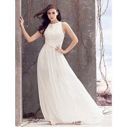 A-line Wedding Dress - Ivory Sweep/Brush Train Jewel Chiffon