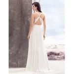 A Line Wedding Dress Ivory Sweep Brush Train Jewel Chiffon