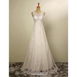 A-line Wedding Dress - Ivory Floor-length Jewel Tulle