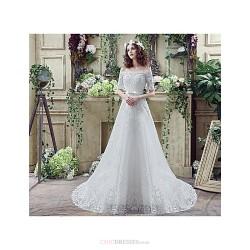 Wedding Dress - Ivory Court Train Bateau Crepe  / Tulle