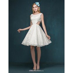 A-line Wedding Dress - Ruby / Ivory Short/Mini Scoop Lace