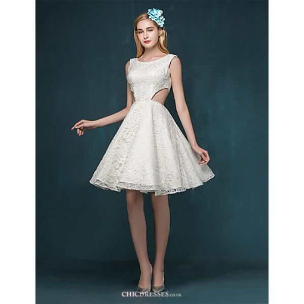 A-line Wedding Dress - Ruby / Ivory Short/Mini Scoop Lace Wedding Dresses