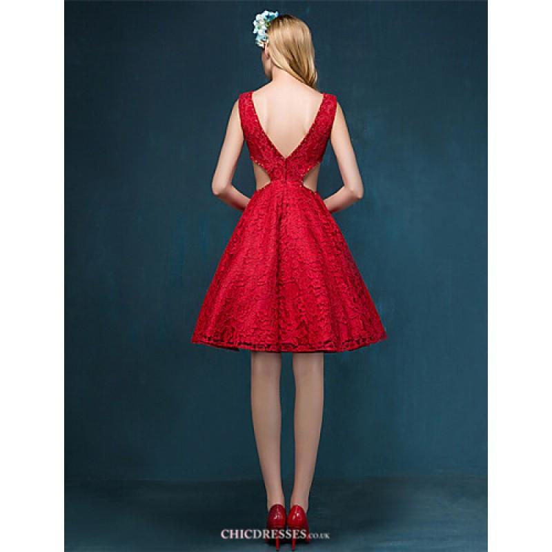Cheap Wedding Dresses Ebay Uk: Ruby / Ivory Short/Mini Scoop Lace