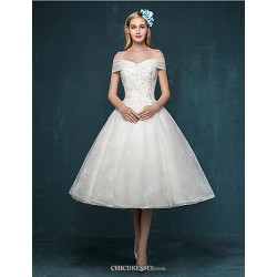 A-line Wedding Dress - Ivory Tea-length Off-the-shoulder Lace