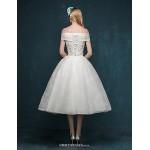 A-line Wedding Dress - Ivory Tea-length Off-the-shoulder Lace Wedding Dresses