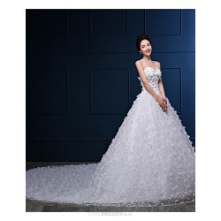 Ball Gown Wedding Dress White Cathedral Train Strapless Organza Satin