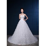 Ball Gown Wedding Dress - White Cathedral Train Strapless Organza / Satin Wedding Dresses