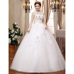 Ball Gown Wedding Dress White Floor Length High Neck Lace Satin Tulle