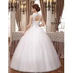 Ball Gown Wedding Dress - White Floor-length High Neck Lace / Satin / Tulle Wedding Dresses