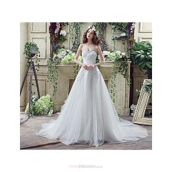 Wedding Dress White Court Train Sweetheart Tulle