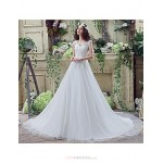 Wedding Dress - White Court Train Off-the-shoulder Tulle Wedding Dresses