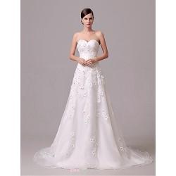 Wedding Dress Ivory Court Train Sweetheart Crepe