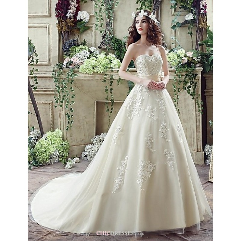 Wedding Gowns Online Uk: Champagne Court Train Sweetheart Georgette