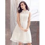 A-line Wedding Dress - Ivory Knee-length Jewel Organza Wedding Dresses