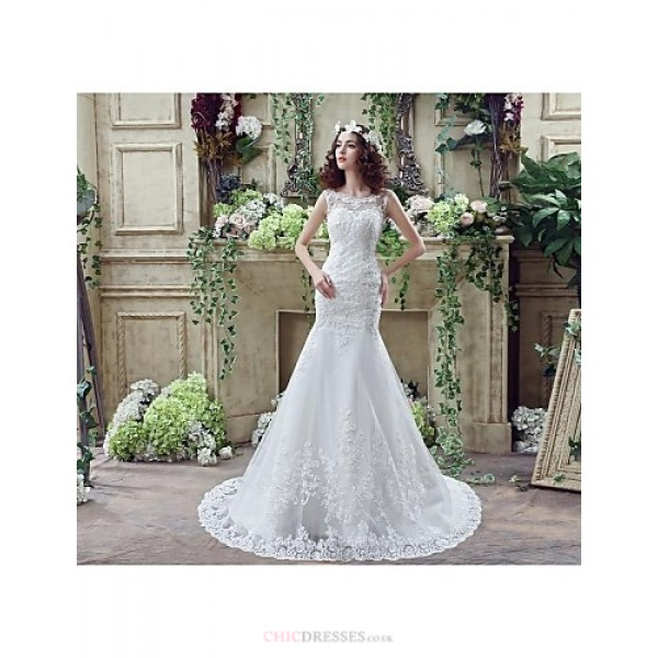 Trumpet/Mermaid Wedding Dress - Ivory Court Train Off-the-shoulder Crepe / Tulle Wedding Dresses