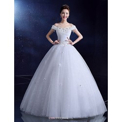 Ball Gown Wedding Dress White Floor Length Bateau Lace Satin Tulle