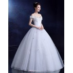 Ball Gown Wedding Dress - White Floor-length Bateau Lace / Satin / Tulle Wedding Dresses