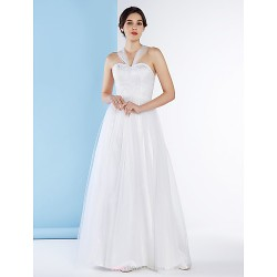 A-line Wedding Dress - Ivory Ankle-length Straps Lace / Tulle