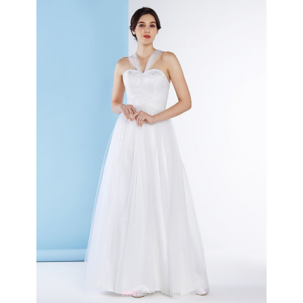 A-line Wedding Dress - Ivory Ankle-length Straps Lace / Tulle Wedding Dresses