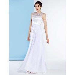 A-line Wedding Dress - White Floor-length Jewel Chiffon / Lace