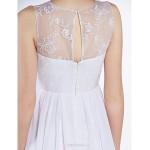 A-line Wedding Dress - White Floor-length Jewel Chiffon / Lace Wedding Dresses