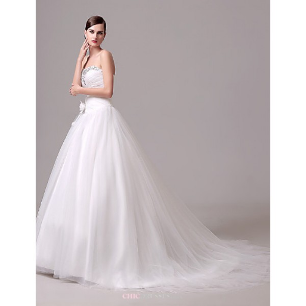 Wedding Dress - Ivory Court Train Sweetheart Crepe Wedding Dresses