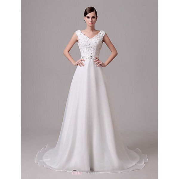 Wedding Dress - Ivory Court Train Off-the-shoulder Crepe Wedding Dresses