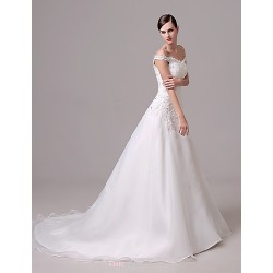 Wedding Dress Ivory Court Train Off The Shoulder Crepe
