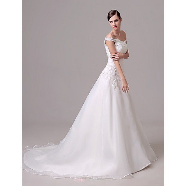 Wedding Dress - Ivory Court Train Off-the-shoulder Crepe Wedding Dresses