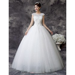Ball Gown Wedding Dress - White Floor-length Jewel Lace / Satin / Tulle