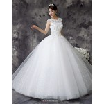 Ball Gown Wedding Dress - White Floor-length Jewel Lace / Satin / Tulle Wedding Dresses