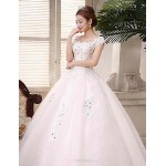 Ball Gown Wedding Dress - White Floor-length Scoop Lace / Satin / Tulle Wedding Dresses