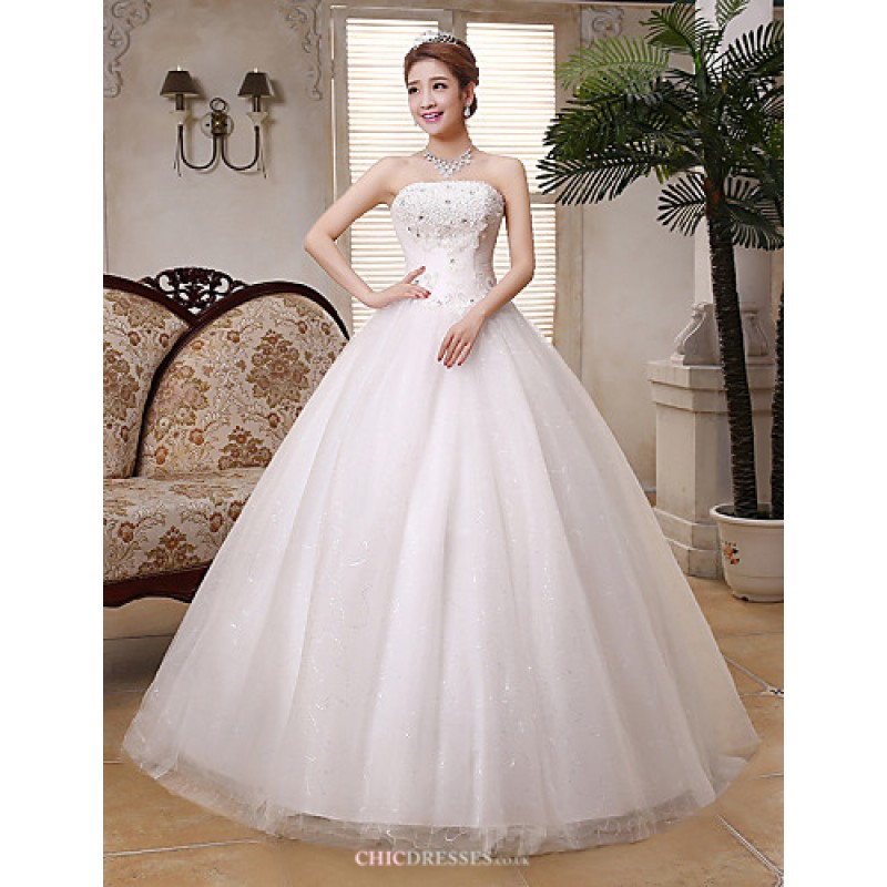 708abec8e15 Ball Gown Wedding Dress - White Floor-length Strapless Lace   Satin   Tulle  Wedding