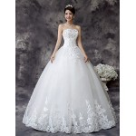 Ball Gown Wedding Dress - White Floor-length Strapless Lace / Satin / Tulle Wedding Dresses