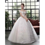 Ball Gown Wedding Dress - White Floor-length Bateau Lace / Satin / Tulle Wedding Dresses