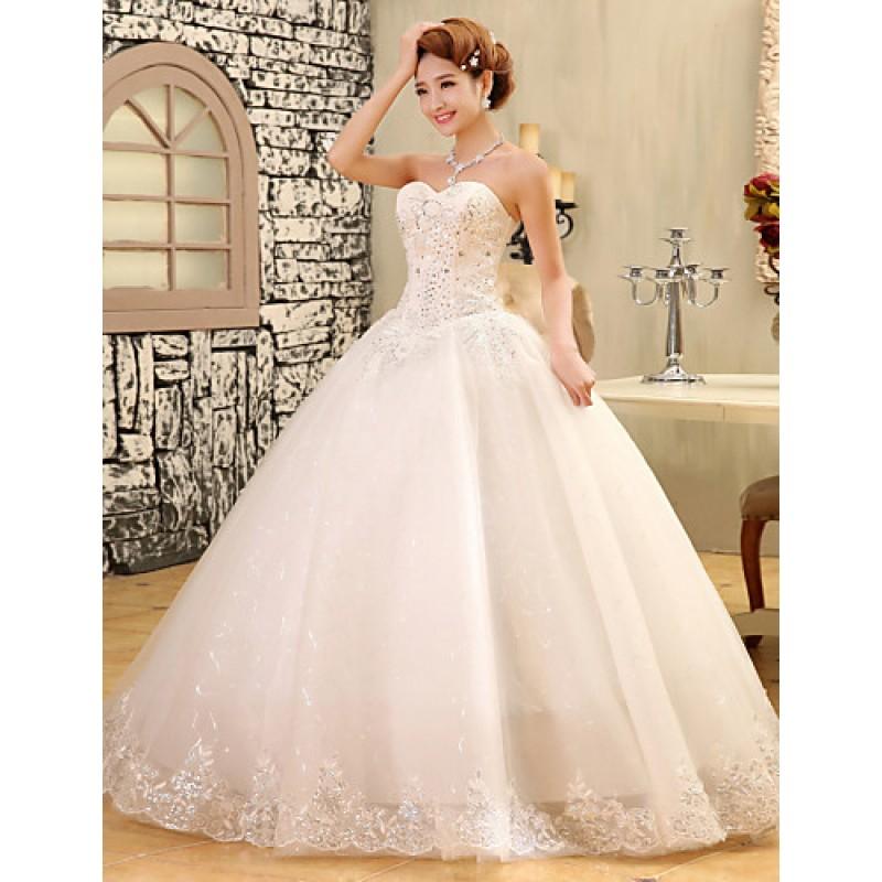 d68e55310df ... Ball Gown Wedding Dress - White Floor-length Strapless Lace   Satin    Tulle Wedding ...