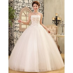 Ball Gown Wedding Dress White Floor Length Strapless Lace Satin Tulle