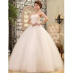 Ball Gown Wedding Dress - White Floor-length Strapless Lace / Satin / Tulle Wedding Dresses