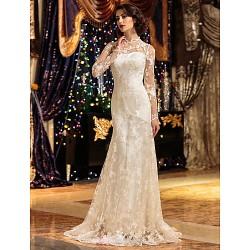 A Line Princess Wedding Dress Ivory Sweep Brush Train High Neck Lace